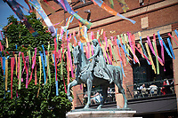 Coventry city of culture 2021 ,Broadgate filled with ribbons made by local school children with messages about Coventry photo by Brian Jordan