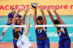 MURO A TRE IVAN ZAYTSEV SIMONE ANZANI E FILIPPO LANZA<br /> <br /> Italy vs Slovenia<br /> Volleyball men's world championship <br /> Florence September 18, 2018