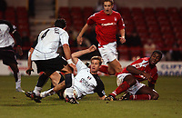 Photo. Daniel Hambury.<br /> Carling Cup.<br /> Forest vFulham. 10/11/2004.<br /> Fulham's Brian McBride score Fulham's third goal