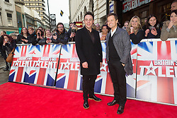 "© Licensed to London News Pictures. 22/01/2016. London, UK. Anthony McPartin and Declan Donnelly arrives at The Dominion Theatre in London for the ""Britain's Got Talent"" auditions. Photo credit : Vickie Flores/LNP"