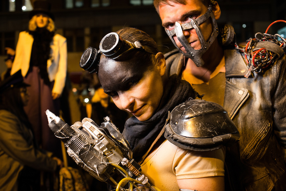New York, NY - 31 October 2016. A man and a woman costumed as steampunk or Game of Thrones characters in the Greenwich Village Halloween Parade.