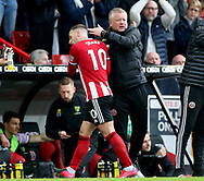 Chris Wilder manager of Sheffield Utd greets Billy Sharp of Sheffield Utd as he is substituted during the Premier League match at Bramall Lane, Sheffield. Picture date: 7th March 2020. Picture credit should read: Alistair Langham/Sportimage