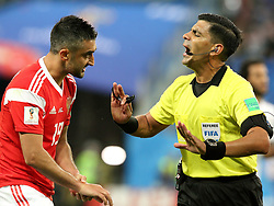 June 19, 2018 - St. Petersburg, Russia - 19 June 2018, Russia, St. Petersburg, FIFA World Cup 2018, First Round, Group A, First Matchday, Russia v Egypt. Player of the national team Alexander Samedov (19), Enrique Caceres Villafante. Chief Justice Enrique Caceres Villafante. (Credit Image: © Russian Look via ZUMA Wire)