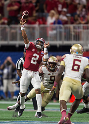 Alabama Crimson Tide quarterback Jalen Hurts (2) throws a touchdown pass during the Chick-fil-A Kickoff NCAA football game on Saturday, September 2, 2017, in Atlanta. (Jason Parkhurst via Abell Images for Chick-fil-A Kickoff Game)