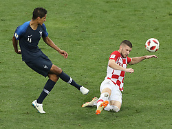MOSCOW, July 15, 2018  Raphael Varane (L) of France vies with Ante Rebic of Croatia during the 2018 FIFA World Cup final match between France and Croatia in Moscow, Russia, July 15, 2018. (Credit Image: © Xu Zijian/Xinhua via ZUMA Wire)