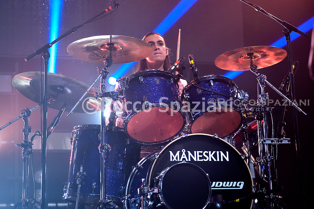 The group Maneskin ,Victoria De Angelis , Ethan Torchio, Damiano David and Thomas Raggi of the group Maneskin performs on stage on December 15, 2018 in Rome, Italy.