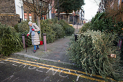 © Licensed to London News Pictures. 07/01/2021. London, UK. An elderly woman walks through piles of Christmas tress at a recycling point in Kensal Green, West London, which haven't been collected during a third national Lockdown. Photo credit: Ben Cawthra/LNP
