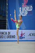 Durunda Marina during final at hoop in Pesaro World Cup April 28, 2013.<br /> Marina is a Azerbaijani individual rhythmic gymnast of Ukrainian origin, she born on June 12, 1997 in Sevastopol.