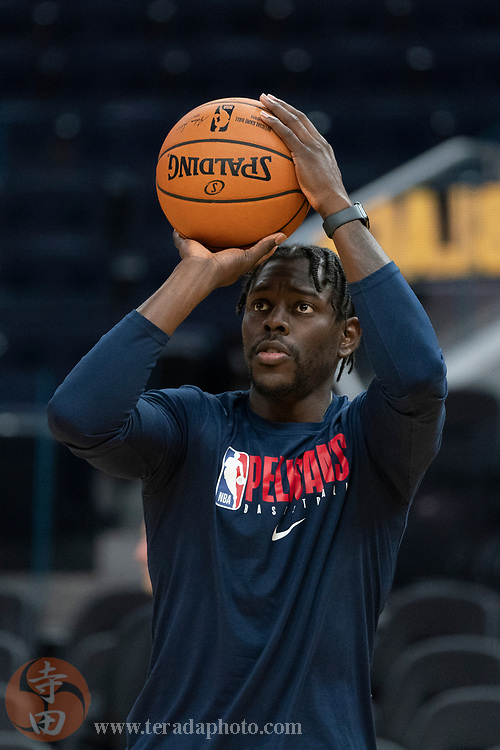 February 23, 2020; San Francisco, California, USA; New Orleans Pelicans guard Jrue Holiday (11) warms up before the game against the Golden State Warriors at Chase Center.