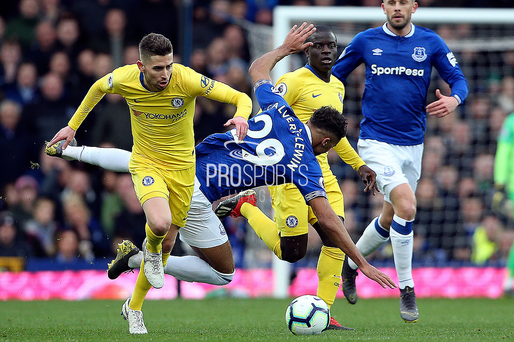 Chelsea midfielder Jorginho (5) and Everton forward Dominic Calvert-Lewin (29) battles for possession during the Premier League match between Everton and Chelsea at Goodison Park, Liverpool, England on 17 March 2019.