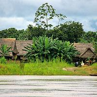 South America; Peru; Amazon River village.