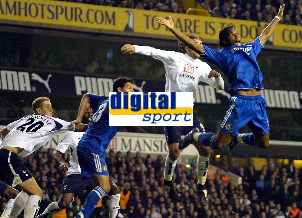 Photo: Ed Godden.<br /> Tottenham Hotspur v Chelsea. The Barclays Premiership. 05/11/2006. Chelsea's Didier Drogba (far right) leaps high for the ball from a corner.