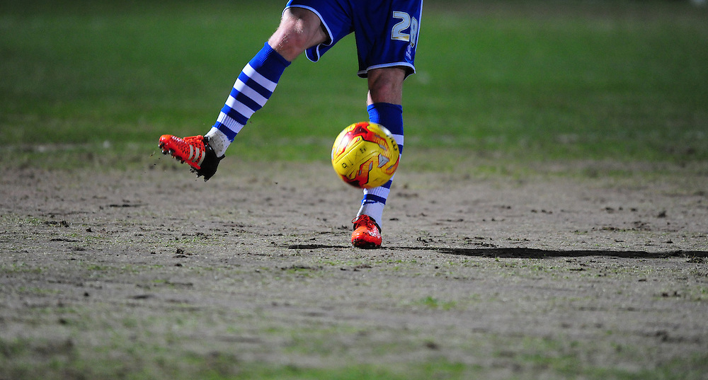 A close up of the feet of Rochdale's Callum Camps during the pre-match warm-up on part of the Scotland pitch that was heavily sanded <br /> <br /> Photographer Chris Vaughan/CameraSport<br /> <br /> Football - The Football League Sky Bet League One - Rochdale v Fleetwood Town - Tuesday 23rd February 2016 - Scotland - Rochdale   <br /> <br /> © CameraSport - 43 Linden Ave. Countesthorpe. Leicester. England. LE8 5PG - Tel: +44 (0) 116 277 4147 - admin@camerasport.com - www.camerasport.com