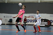 Jamie Forsyth of Scotland gets to the ball ahead of Liam Palfreman of England. England v Scotland match, Home nations Futsal tournament at the Cardiff city House of Sport in Cardiff, South Wales on Friday 2nd December 2016. This inaugural tournament played over 3 days brings together teams from Wales, England, Scotland and Northern Ireland. <br /> pic by Andrew Orchard, Andrew Orchard sports photography.