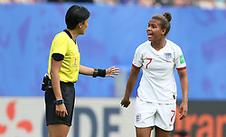 England's Nikita Parris (right) in discussion with referee Qin Liang during the FIFA Women's World Cup, round of Sixteen match at State du Hainaut, Valenciennes.