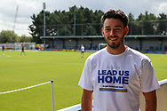 AFC Wimbledon defender Will Nightingale (5) standing in front of pitch wearing Lead us Home T shirt during the EFL Sky Bet League 1 match between AFC Wimbledon and Accrington Stanley at the Cherry Red Records Stadium, Kingston, England on 17 August 2019.