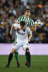 February 28, 2019 - Valencia, Valencia, Spain - Kevin Gameiro and Mandi of Betis battle for the ball during the Copa del Rey Semi Final match second leg between Valencia CF and Real Betis Balompie at Mestalla Stadium in Valencia, Spain on February 28, 2019. (Credit Image: © Jose Breton/NurPhoto via ZUMA Press)