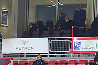 Football - 2020 / 2021 Sky Bet Championship - AFC Bournemouth vs. Cardiff City - The Vitality Stadium<br /> <br /> Bournemouth's Chairman Jeff Mostyn on the left sits with Joe Jordan who is rumoured to be joining the Cherries coaching staff at the Vitality Stadium (Dean Court) Bournemouth <br /> <br /> COLORSPORT/SHAUN BOGGUST