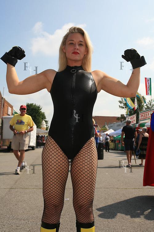 Black Canary devotee, Heather Kelley, dresses the part while posing at Superman Celebration; Metropolis, Illinois.