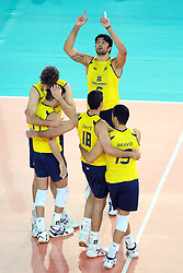 09-10-2010 VOLLEYBAL: FIVB 2010 WORLD CHAMPIONSHIP: ITALIA - BRAZIL: ROME<br />  Brazil players celebrate victory Semifinals<br /> ©2010- EXPA/ InsideFoto/ Andrea Staccioli +++++ ATTENTION - FOR NETHERLANDS CLIENT ONLY +++++ / / WWW.FOTOHOOGENDOORN.NL<br /> PHOTO AGENCY
