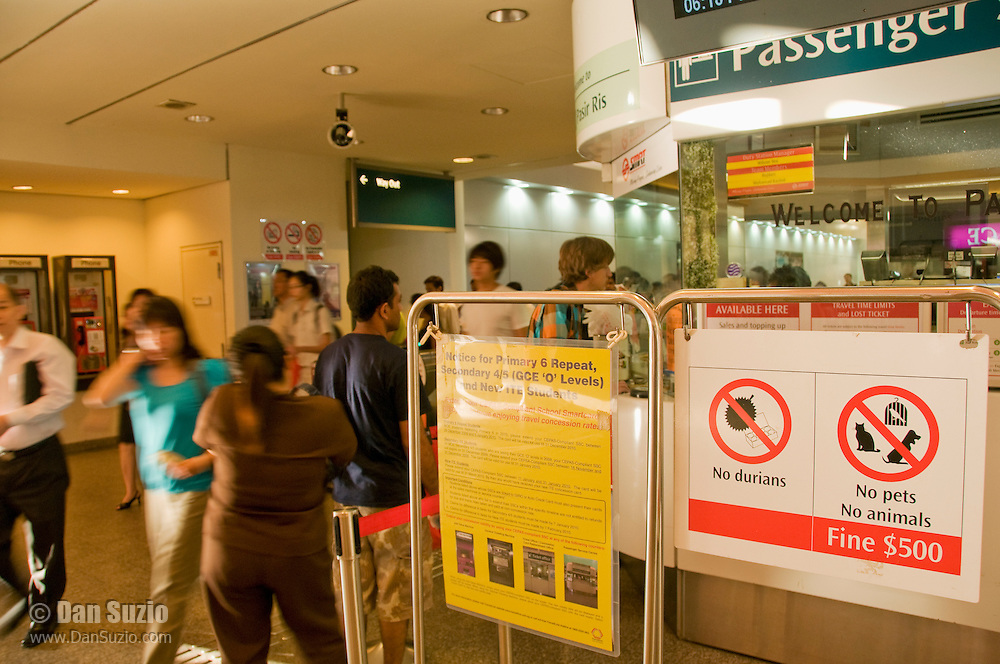 Sign in a Singapore subway station warns passengers against carrying durians, a fruit with a notoriously strong odor.
