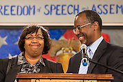 Dr. Ben Carson introduces his wife Candy Carson before speaking to supporters at the South Carolina Tea Party Coalition convention on January 18, 2015 in Myrtle Beach, South Carolina. A variety of conservative presidential hopefuls spoke at the gathering on the third day of a three day event.