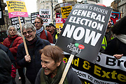 Britain is Broken - General Election Now demonstration against Tory cuts and austerity on 12th January 2019 in London, United Kingdom. Irrespective of which way people voted in the EU referendum, this protest was calling for an end to austerity and homelessness, the nationalisation of rail and other utilities, and ultimately, for a general election to end the Tories power. Theresa May must go placard.