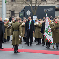 Recep Tayyip Erdogan Prime Minister of Turkey and his counterpart Viktor Orban inspect the guard of honor during a welcoming ceremony in Budapest, Hungary on February 05, 2013. ATTILA VOLGYI