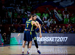 Klemen Prepelic of Slovenia and Goran Dragic of Slovenia celebrate during basketball match between National Teams of Slovenia and Spain at Day 15 in Semifinal of the FIBA EuroBasket 2017 at Sinan Erdem Dome in Istanbul, Turkey on September 14, 2017. Photo by Vid Ponikvar / Sportida