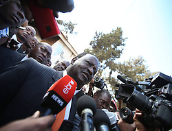 Presidential candidate of Coalition for Reform and Democracy (CORD) Raila Odinga (front) receives an interview after he cast his ballot at a polling station in Nairobi, Kenya, March 4, 2013. A total of 14.3 million Kenyan voters lined up to cast their ballots Monday morning to choose the country s next president, the first after disputed presidential elections tally stirred up violence five years ago, Monday March 4, 2013. Photo by Imago / i-Images...UK ONLY