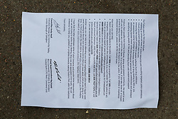 A police circular to local residents outlines measures being taken to deal with criminality in the local area. An elephant topiary hedge at the corner of Ambler and Romilly Roads in Finsbury Park, much beloved of local residents, is under threat after it has been claimed that drug users are using the cover of the elephants. The ground floor flat at the address has been boarded up following a police raid and eviction of tenants who, according to neighbours, were using the flat as a drugs den . London, August 12 2019.