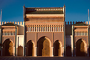 MOROCCO, RABAT the Royal Palace of King Hassan II; main facade with elegant handworked bronze doors and decorative tile and plasterwork