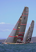 Alinghi and Team New Zealand head off on the first leg of race two. America's Cup 2003. 16/2/2003 (© Chris Cameron 2003)