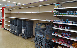 © Licensed to London News Pictures. 16/03/2020. London, UK. Empty shelves in Sainsbury's in north London just after 8am, as panic-buying continues. 35 coronavirus victims have died and 1,372 cases have tested positive of the virus in the UK. Photo credit: Dinendra Haria/LNP