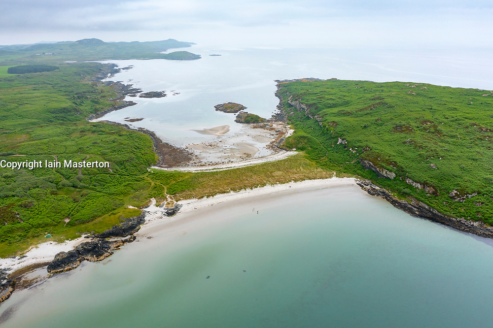 The Twin Beaches tombolo or sandy isthmus at An Doirlinn next to Eilean Garbh island at north end of  Isle of Gigha, Kintyre peninsula, Argyll & Bute, Scotland, UK
