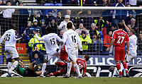 Photo: Jed Wee.<br /> Bolton Wanderers v Fulham. The Barclays Premiership. 26/02/2006.<br /> <br /> Fulham's Heidar Helguson bundles the ball into his own net just before half time.
