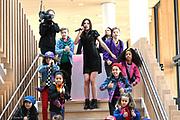 Koningin Maxima tijdens de opening van het Prinses Maxima Centrum voor Kinderoncologie. Queen Maxima during the opening of the Princess Maxima Center for Pediatric Oncology. <br /> Op de foto: Maan de Steenwinkel met Kinderen voor Kinderen