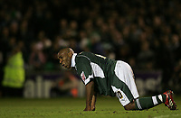 Photo: Lee Earle.<br /> Plymouth Argyle v Watford. The FA Cup. 11/03/2007.Plymouth's Barry Hayles looks dejected after losing to Watford.