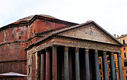 Scenes from the Pantheon (Rome). An ancient Roman temple dedicated to the gods of Olympus. It was rebuilt by Emperor Hadrian between 118 and 128 AD after being fire damage. The Pantheon was converted into a basilica at the start of the seventh century. Rome. Italy 2013