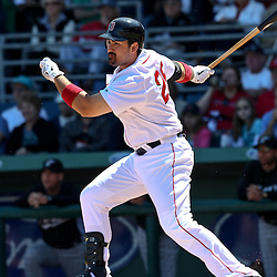 March 12, 2011; Fort Myers, FL, USA; Boston Red Sox first baseman Adrian Gonzalez (28) during a spring training exhibition game against the Florida Marlins at City of Palms Park. The Red Sox defeated the Marlins 9-2.  Mandatory Credit: Derick E. Hingle