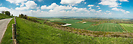 View from the Berkshire Downs from the road looking towards Walbury Hill and Inkpen, Berkshire, Uk