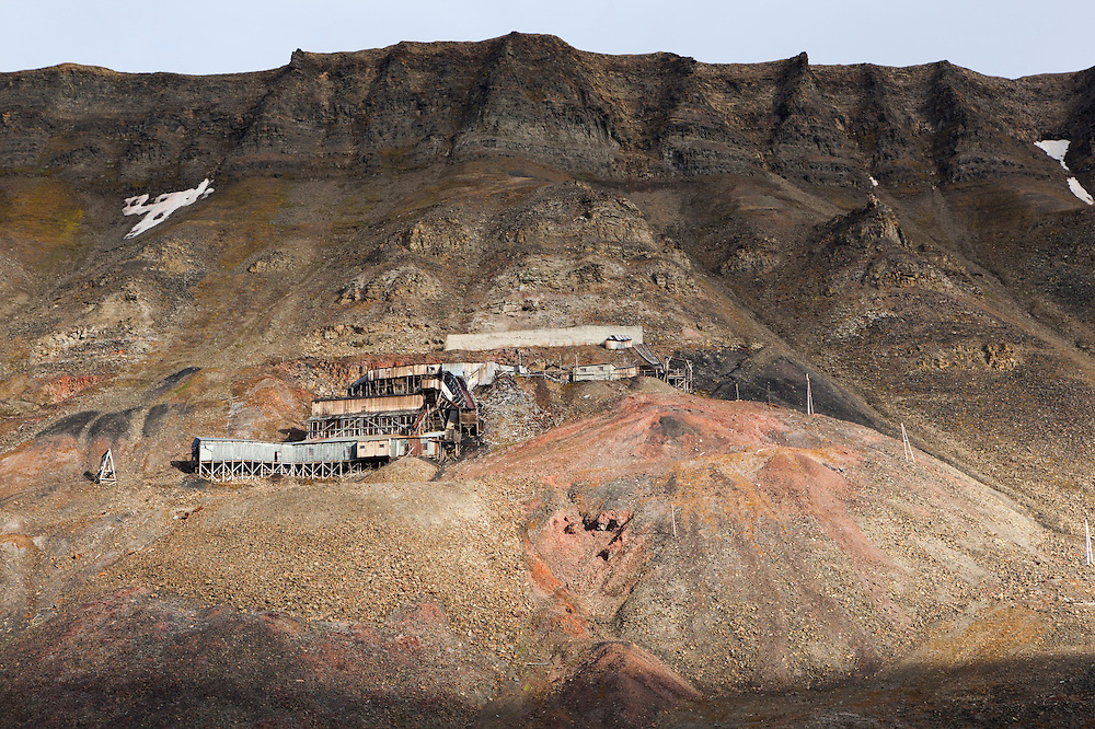 Remains of the abandoned Coal Mine no. 2 on a hillside above Longyearbyen, Svalbard.