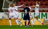 17/09/15 VAUXHALL WOMEN'S INTERNATIONAL CHALLENGE MATCH<br /> SCOTLAND v NORWAY<br /> FIRHILL - GLASGOW<br /> Norway's Nora Holstad Berge (2nd from left) celebrates her goal