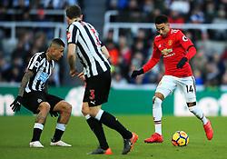Jesse Lingard of Manchester United takes on Kenedy of Newcastle United - Mandatory by-line: Matt McNulty/JMP - 11/02/2018 - FOOTBALL - St James Park - Newcastle upon Tyne, England - Newcastle United v Manchester United - Premier League