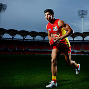GOLD COAST, AUSTRALIA - JULY 18:  Jaeger O'Meara of the Gold Coast Suns poses for a portrait at Metricon Stadium on July 18, 2013 in Gold Coast, Australia.  (Photo by Chris Hyde/Getty Images)