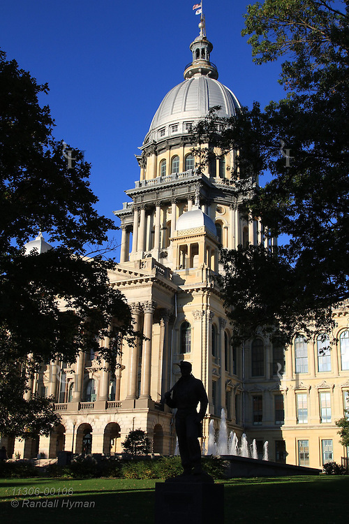 Zinc-clad, 361-foot-tall Illinois state capitol, built 1869-89, is tallest classical-style capitol in US and taller than nation's own in Washington; Springfield, Illinois.
