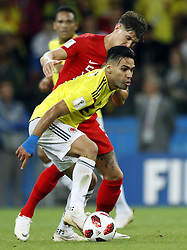(l-r) Radamel Falcao Garcia of Colombia, John Stones of England during the 2018 FIFA World Cup Russia round of 16 match between Columbia and England at the Spartak stadium  on July 03, 2018 in Moscow, Russia