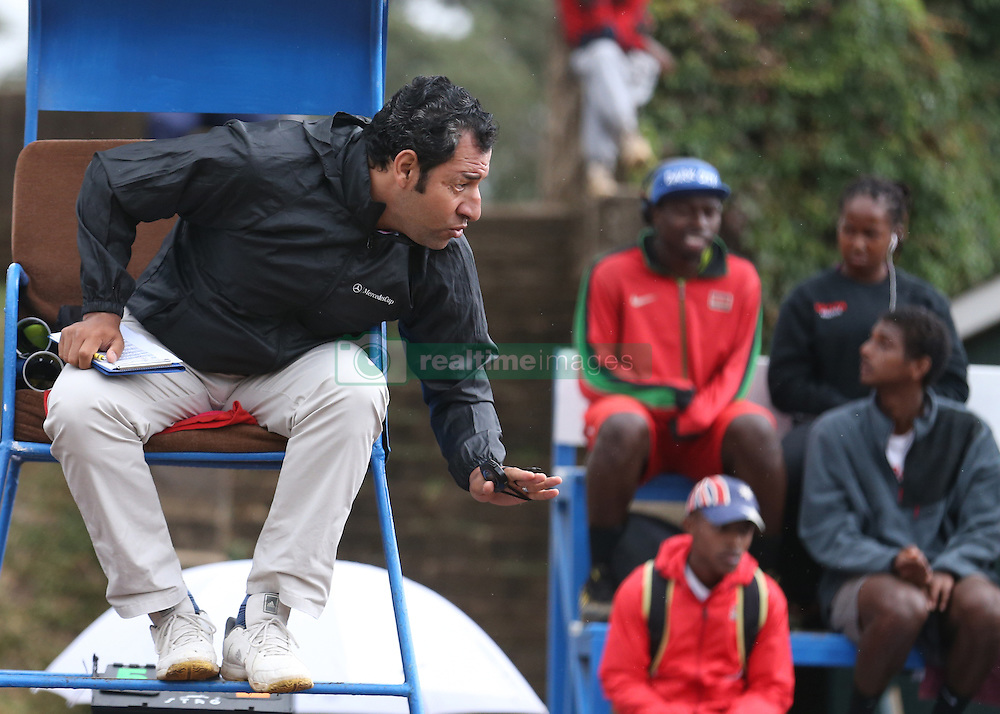 Ahamed Said referee from Egypt consult with players during the 14th African Nations Cup (CAN) 2016 mens semi finals at Nairobi Club on November 10, 2016. Photo/Fredrick Onyango/www.pic-centre.com (KEN)