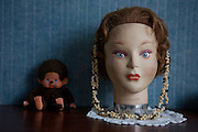 "Dolly and Monkey - vintage hairdressing dummy and cuddly toy. She seems full of herself. Monkey is unimpressed, and maybe a little worse for wear. This mage can be licensed via Millennium Images. Contact me for more details, or email mail@milim.com For prints, contact me, or click ""add to cart"" to some standard print options."
