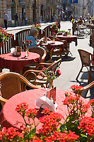 Cafe Tables in the Stare Miasto Old Town in Krakow Poland